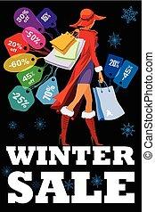 sezonowy, zima, sprzedaż