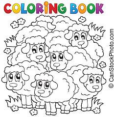 sheep, kolorowanie, temat, 2, książka