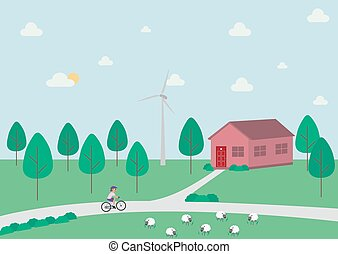sheep, las, windmill., okolica, krajobraz, wiejski, dom, rowerzysta, drzewa