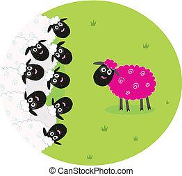 sheep, różowy, biały