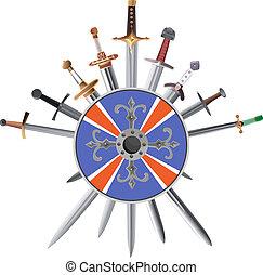 shields., crosswise, miecze, krzyż