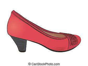 shoe., rys, kobiety
