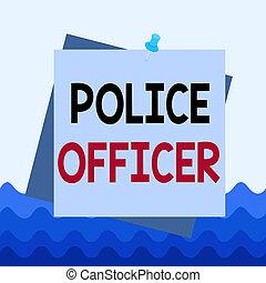 showcasing, ręka, szpilka, przypomnienie, notatka, policja, kolor, officer., tło, wykonanie, fotografia, konceptualny, pinezka, square., pisanie, pokaz, hals, drużyna, handlowy, demonstrowanie, prawo, oficer