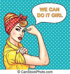 siła, jej, gospodyni, kobieta, pociągający, demonstrowanie, hukiem, zaufany, sztuka
