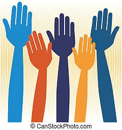 siła robocza, albo, zgłaszanie się na ochotnika, voting.