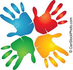 siła robocza, barwny, teamwork, logo, dookoła