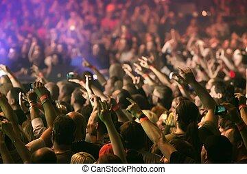 siła robocza, doping, tłum, żywa muzyka, podniesiony, koncert