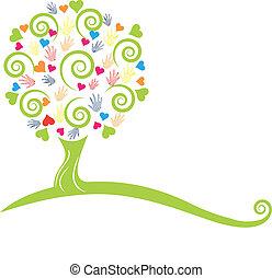 siła robocza, drzewo, logo, serca, zielony