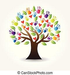 siła robocza, drzewo, wektor, serca, logo, ikona