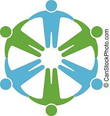 siła robocza, dzierżawa, ludzie, logo., koło