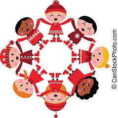 siła robocza, dzierżawa, szczęśliwy, zima, odizolowany, multicultural, dzieciaki, biały