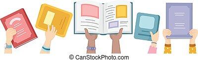 siła robocza, książki, otwarty, do góry, dzieciaki