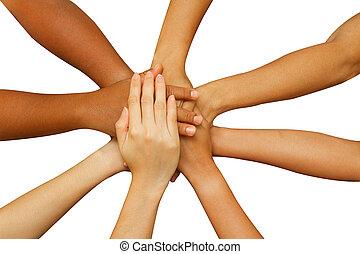 siła robocza, ludzie, ich, razem, pokaz, jedność, drużyna, kładzenie