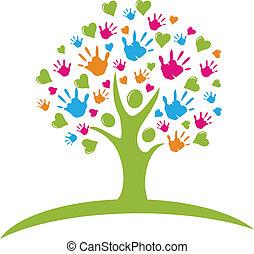 siła robocza, serca, drzewo, figury