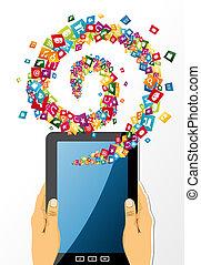 siła robocza, tabliczka, app, zawiera, icons., pc, ludzki