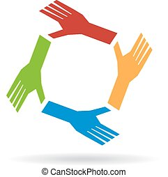 siła robocza, współpraca, circle., teamwork, drużyna, pojęcie