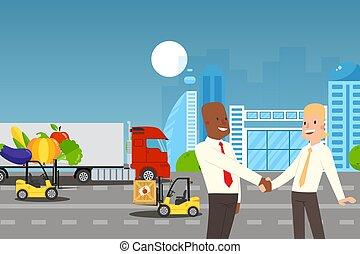 siła robocza, wzmacniacz, wektor, ludzie, potrząsanie, ilustracja, pomyślny, porozumienie, handlowy