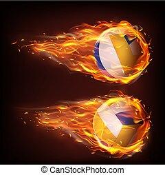 siatkówka, spadanie, płomień, ogień, piłki, przelotny