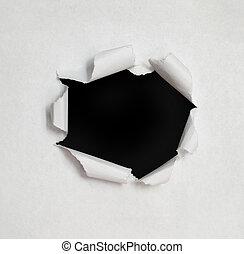 sides., otwór, porwany papier
