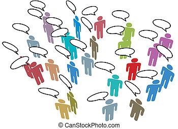 sieć, barwny, ludzie, media, mowa, towarzyski, spotkanie