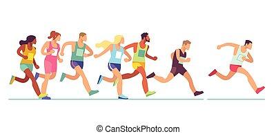sieć, chorągiew, mężczyźni, maraton, atletyka, jogging, kobiety, prąd, wypadek, ludzie., wektor, lekkoatletyka, projektować, pojęcie, wyścigi, grupa, odzież