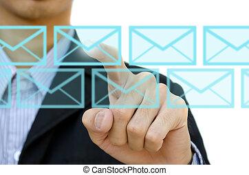 sieć, ekran, rzutki, biznesmen, towarzyski, dotyk, poczta