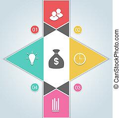 sieć, elementy, chorągiew, handlowy, opcje, nowoczesny, -, do góry, ilustracja, opcje, krok, wektor, szablon, infographics, projektować
