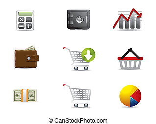 sieć, &, finanse, handlowe ikony