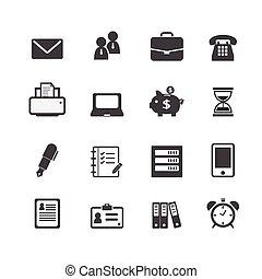 sieć, finansowy, biuro, handlowe ikony, praca, miejsce pracy