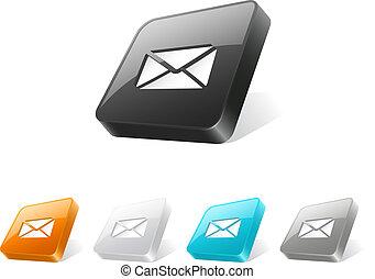 sieć, guzik, 3d, ikona, e-poczta