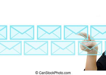 sieć, handlowy, ekran, rzutki, ręka, towarzyski, dotyk, poczta, interface.