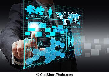 sieć, handlowy, kropka, faktyczny, ręka, biznesmen