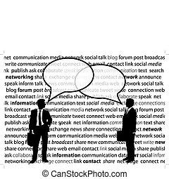 sieć, handlowy zaludniają, część, towarzyski, bańki, rozmowa