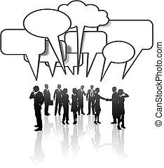 sieć, handlowy zaludniają, media, komunikacja, zaprzęg rozmowa