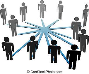 sieć, handlowy zaludniają, media, połączyć, towarzyski, albo