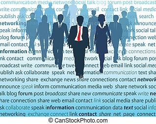 sieć, handlowy zaludniają, media, towarzyski, pojęcia