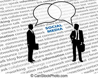 sieć, handlowy zaludniają, tekst, towarzyski, bańki, rozmowa