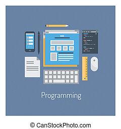 sieć, html, programowanie, ilustracja, płaski