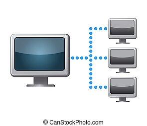 sieć, ikona, połączenie