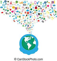 sieć, ikony, media, tło, towarzyski, człowiek