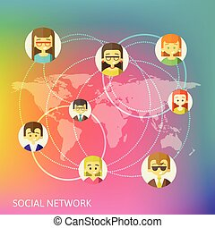 sieć, ilustracja, media, koła, wektor, towarzyski