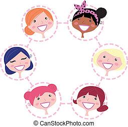 sieć, kobiety, odizolowany, grupa, multicultural, biały