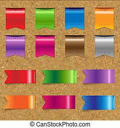 sieć, kolor, wstążki, komplet, korek, cielna