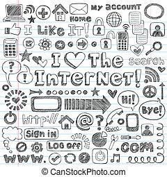 sieć, komplet, doodle, wektor, internetowa ikona