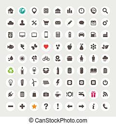 sieć, komplet, ikony