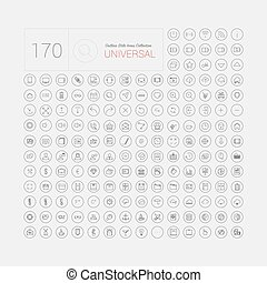 sieć, komplet, ikony, ruchomy, uniwersalny, nowoczesny, cienka lina, 170