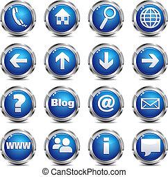 sieć, komplet, &, -, umiejscawiać, jeden, internetowa ikona