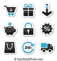 sieć, komplet, zakupy, ikony, -, /, internet