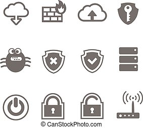 sieć, komputerowa ikona, komplet