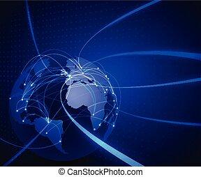 sieć, komunikacja, ilustracja, oczko, technologia, wektor, świat, tło, pojęcie